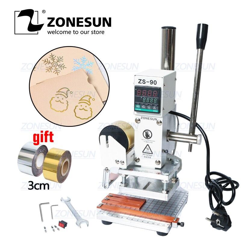 ZONESUN ZS-90 Machine D'estampage à chaud Manuelle Bronzage embosseuse Carte PVC en cuir papier bois gaufrage estampage fer