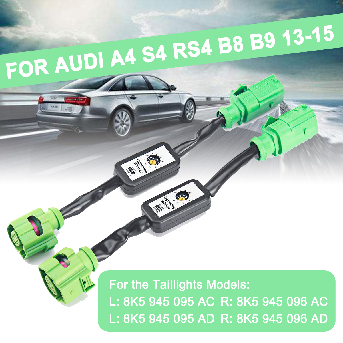 For <font><b>Audi</b></font> <font><b>A3</b></font> 8V,A4 S4 RS4 B8 B9,A5 S5 RS5,A6 S6 RS6 4G C7 Sedan,A8 Dynamic Turn Signal Indicator LED Taillight Add-on Module Wire image