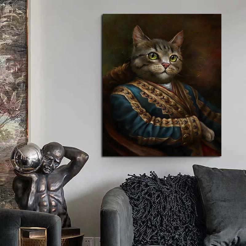 Купить абстрактная картина на холсте благородный кот без рамки современный