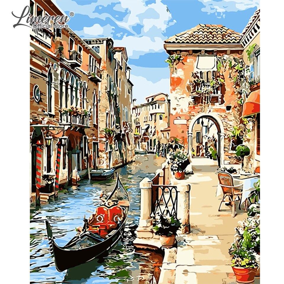 Peinture à lhuile avec numéros paysage   Paysage de paysage, venise sur toile, coloration acrylique, nombres, tableau dart mural, pour salon, Art mural