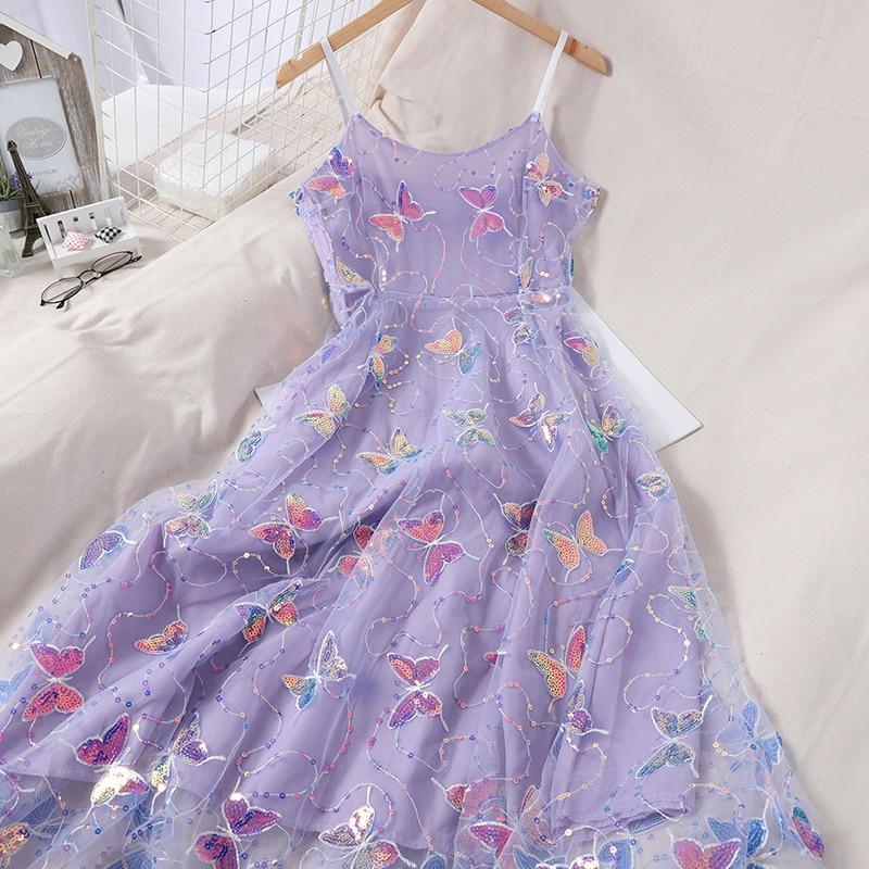 Butterfly Dress Sequin Slip Dress Woman Elegant Sexy Beach Embroidery Mesh Party Dresses 2020 Summer Korean Kawaii Clothes Robe