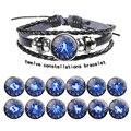 Новинка 2021, браслеты из воловьей кожи с двенадцатью созвездиями, браслет для влюбленных из бисера, ювелирные изделия для мужчин и женщин