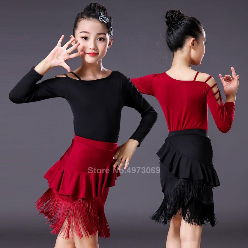 Vestido de baile latino dividido con flecos y flecos para salón de baile para chico chica puesta en escena profesional Sumba Rojo Negro falda con leotardo