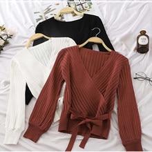 Ljsxls outono inverno elegante arco camisola de malha mulher com decote em v pulôveres camisolas de manga longa camisola fina 2020 roupas femininas
