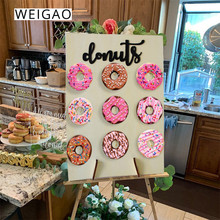 WEIGAO Wooden Donuts Stand Donut Wall Display Holder Wedding Decoration Birthday Party Supplies Baby Shower