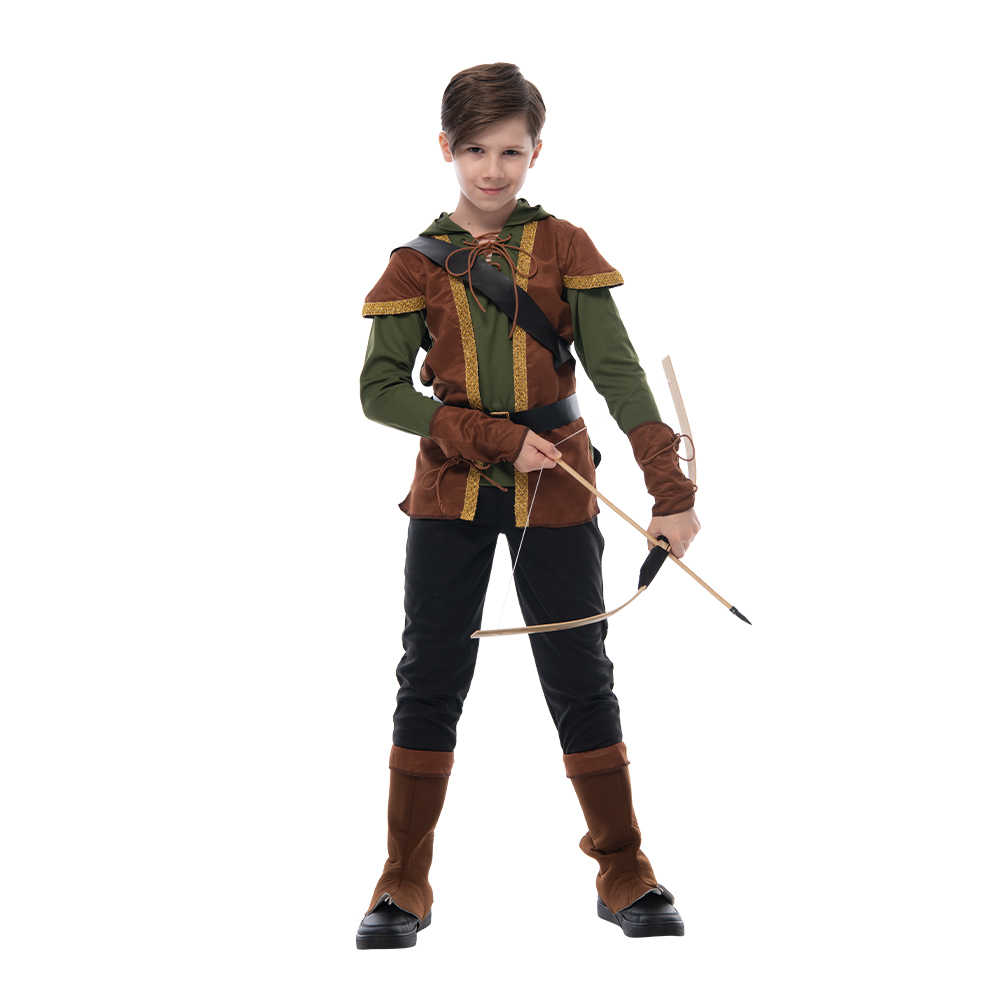 Boys Storybook Robin Hood Elf Halloween Fancy Dress Up Party Costume Outfit