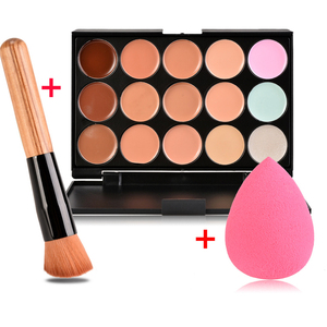 New Face Concealer Makeup Palette +Brushes +Puff Face Base Foundation Bronzer Concealer Contour Pallete Make Up Cosmetics Set(China)