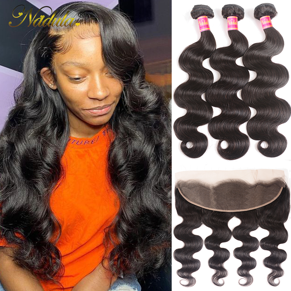 Nadula Hair  Body Wave Hair With 13x4 Lace Frontal Closure 3 Bundles With Frontal 100%  s  Hair 1