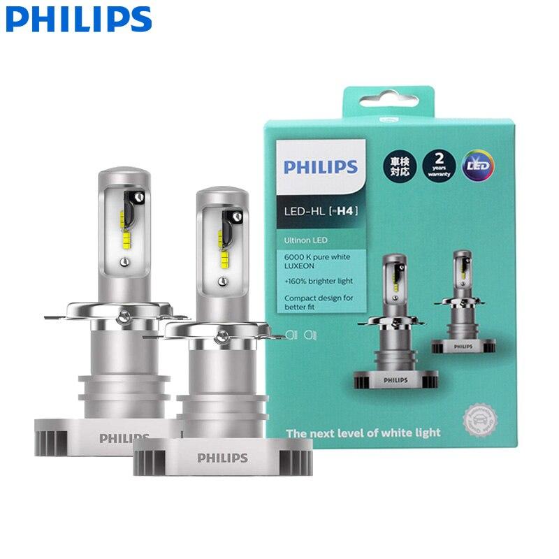 Philips Ultinon LED H4 9003 HB2 12V 11342ULX2 6000K Bright Car LED Headlight Auto HL Beam +160% More Bright (Twin Pack)Car Headlight Bulbs(LED)   -