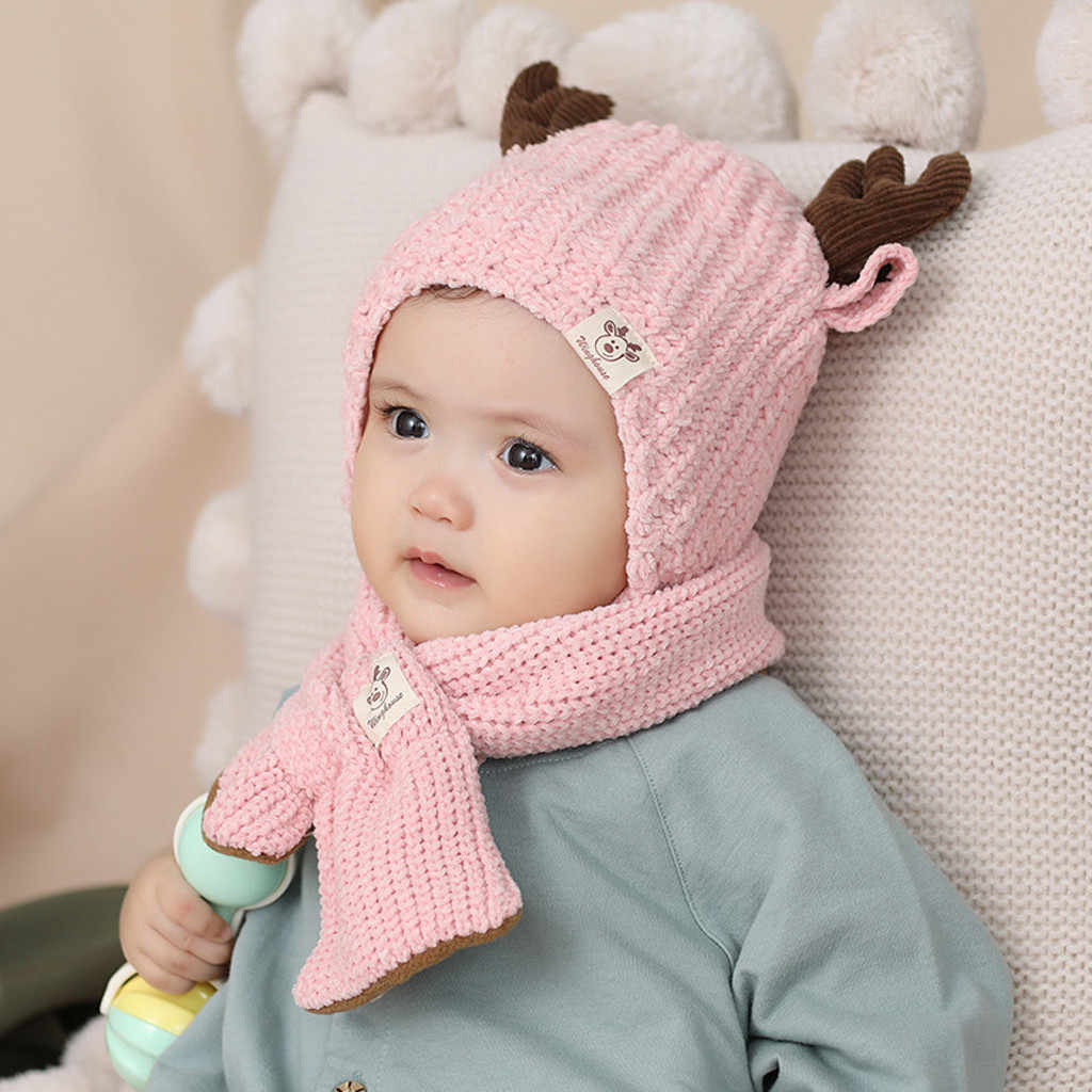 Knitted Kids HatsAntlers Cute Baby Hat Soft Cartoon Knit Newborn Baby Beanie Double Layer Warm Winter Hat For Baby Girls Boys