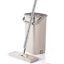 Squeeze Hand Free Flat Mop Bucket With Stainless Steel Handle Wet Dry Floor Cleaning 360 rotatable heads With Reusable Mop Pads