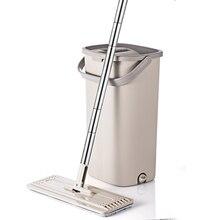Squeeze Hand Free płaski Mop wiadro z uchwyt ze stali nierdzewnej Wet Dry do czyszczenia podłóg 360 obrotowe głowice z wielokrotnego użytku wkłady do mopa