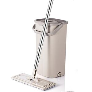 Image 1 - Squeeze Hand Free płaski Mop wiadro z uchwyt ze stali nierdzewnej Wet Dry do czyszczenia podłóg 360 obrotowe głowice z wielokrotnego użytku wkłady do mopa