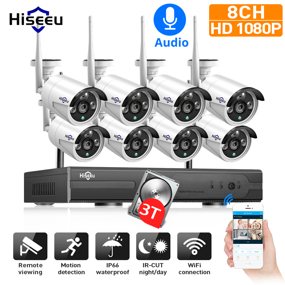 Hiseeu 1080P H.265+ Wireless CCTV System 8CH 2M HD Wi-fi NVR Kit Outdoor Audio IP Wifi Camera Security System Surveillance Set