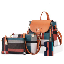 Designer xadrez feminina sacos de luxo qualidade mochilas couro 4 pçs sacos de ombro conjunto composto sacos meninas viagem volta mochila