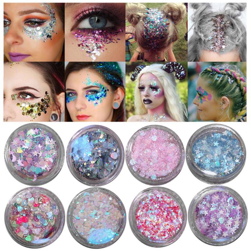 20color Sequin Glitter Gel Flash Nail Sticker Children Show Eye Makeup Stickers Tear Sticker Phone Glasses Love Stars Stickers