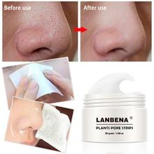 LANBENA 30 г Глубоко Очищающая маска для удаления черных точек, маска для носа, полоска пор+ 60 шт. ткани, лечение акне, пилинг, маска для ухода за кожей TSLM1
