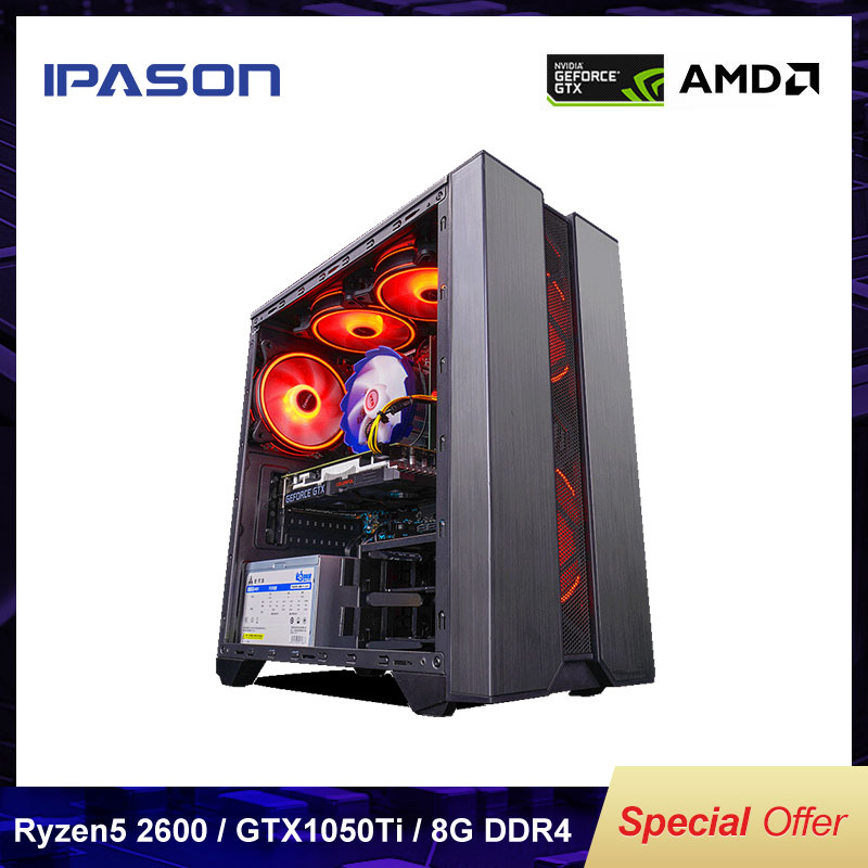 AMD Gaming Computer PC Ryzen5 2600 GTX1050TI 4G D4 8G 16G RAM 256G SSD PUBG GTA5 High-End Desktop Assembly Machine Complete Set