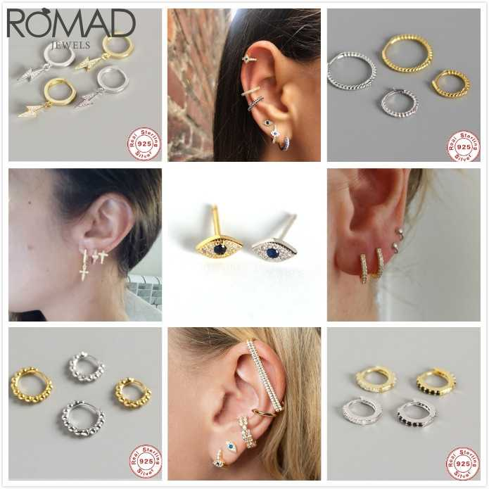 ROMAD 925 Sterling Silver Earrings For Women Cross Drop Earrings Gothic Punk Ear Bone Earrings Pirecing aretes Girl eardrops R5