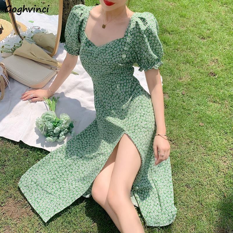 Женское платье с коротким рукавом-фонариком, летнее облегающее платье зеленого цвета с цветочным рисунком и Боковым Разрезом