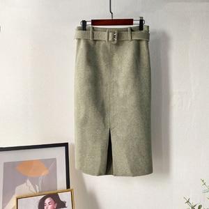 Image 4 - Lizkova ורוד עיפרון חצאית חורף 2020 נשים גבוהה מותן פיצול Faldas עם חגורת אלגנטי רשמי גבירותיי Jupes 2810
