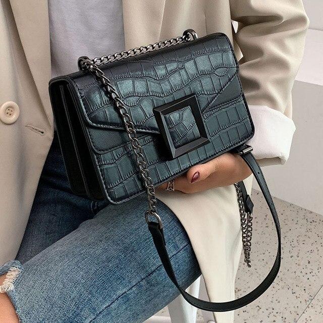 2021 женские сумки через плечо из искусственной кожи с каменным узором, маленькая простая сумка через плечо, женские роскошные сумки и кошельки с цепочкой