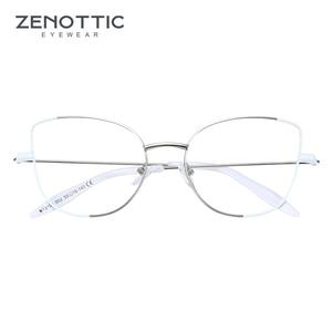 Image 4 - Zenottic cat eye óculos frame para mulher simples prescrição de metal armação de resina clara lente miopia óptica eyewear 2020