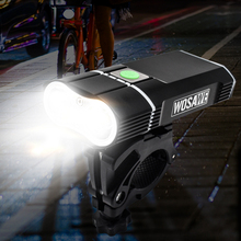 WOSAWE 2400 Lumens Bicycle Light with 18650 Built-in Batteries USB Rechargeable Bike Light 2-XML LED lamp Flashlight 5 modes wosawe 2400 lumens bicycle light with 18650 built in batteries usb rechargeable bike light 2 xml led lamp flashlight 5 modes