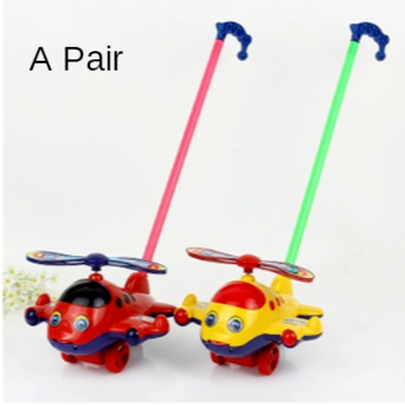 Baby Toddler Aircraft Head Trolley Toy Single Pole Children Push Push Bell Bell Push Aircraft Tongue Out 1-3