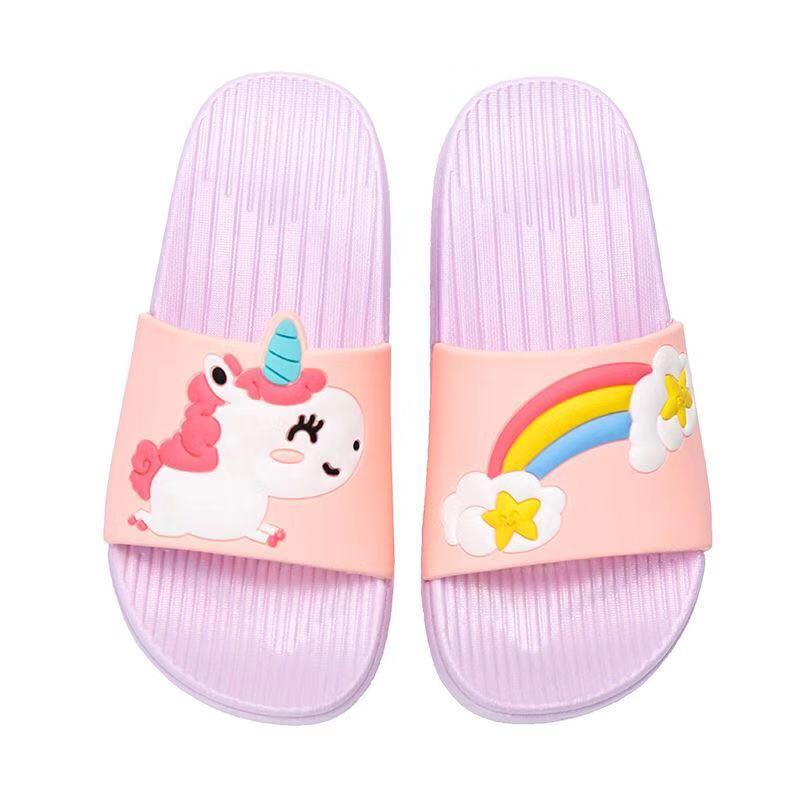 Baby Girls Cartoon Unicorn Toddler Beach Swimming Slippers Kids Boy Rainbow Shoes Children Summer Flip Flops Indoor Cute Sandals
