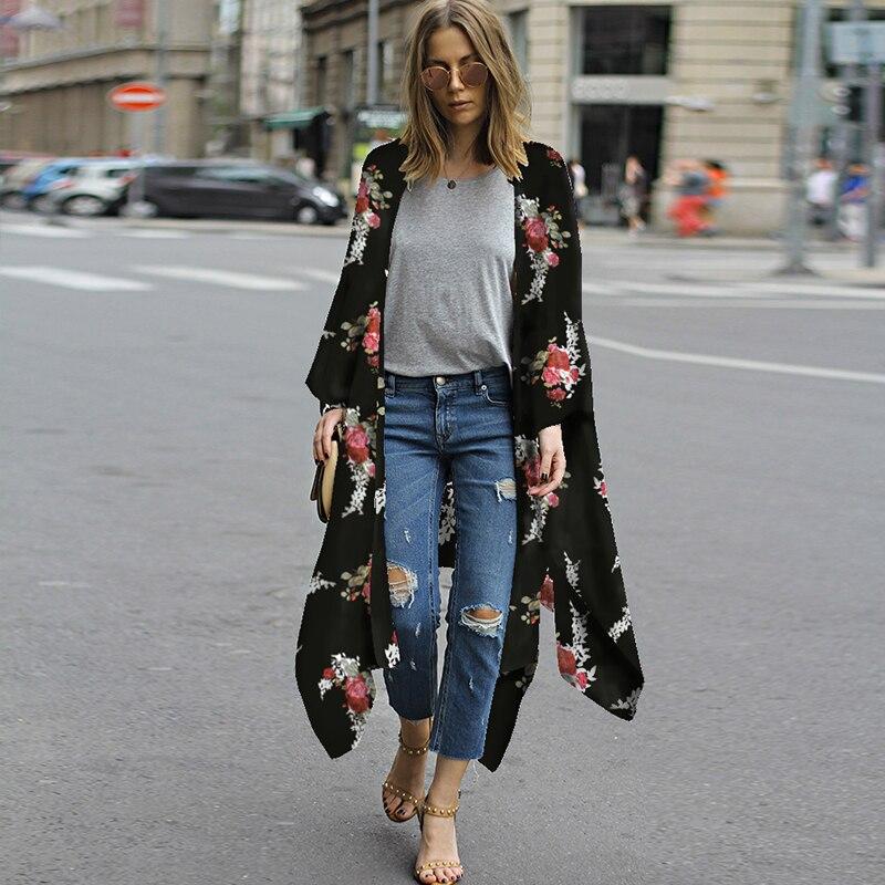 Plus Size 4XL 5XL Women Chiffon Kimono Cardigan Floral Print Asymmetric Boho Loose Casual Outerwear Beachwear Cover Up Blusas
