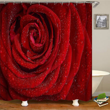 Red Flower Shower Curtains Floral Leaf Waterproof Polyester Bathroom Curtain Fabric For Bathroom Curtain white embroidered short curtain for kitchen floral sheer tulle curtains for bedroom voile window screening curtain blinds drapes