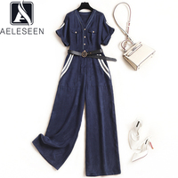 AELESEEN Runway Fashion Summer Denim Jumpsuit Romper For Women Contrast Color Strip Jumpsuit Bf High Waist Jean Overalls Rompers