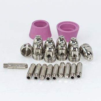 цена 22pcs AG60 Plasma Cutting Torch Consumables SG55 Cutting Gun 60A Plasma Cutting Machine Shield Cup Nozzle Electrode онлайн в 2017 году