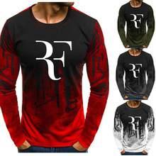 Mężczyźni tkaniny dla RF Roger Federer Gradient O neck sweter mężczyźni moda bawełna tenis bluza Casual Hip Hop bluza z kapturem w stylu Harajuku N0