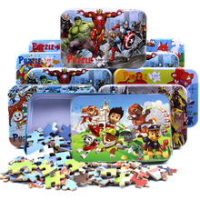 Non-toxic 100pcs/set Wooden Puzzle Cartoon 3D Wood Puzzle Jigsaw Toys for Children Kids Early Educational Toys (with Iron Box) цены