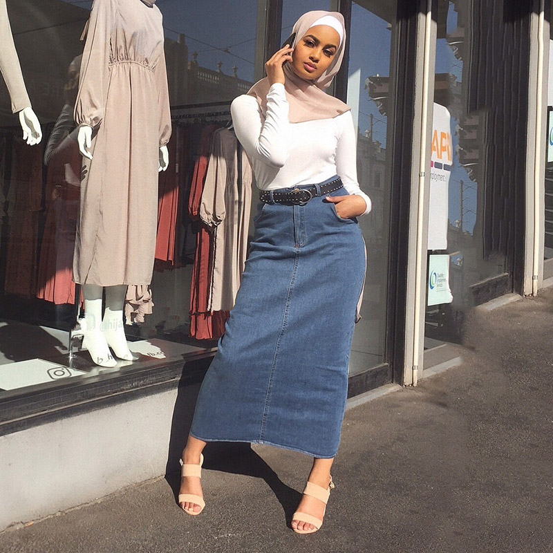 Arabic Stretch Denim Bag Hip Skirt Skirt Muslim Women Bottoms Turkish Vacation Shopping Casual Women Skirt Islamic Clothing