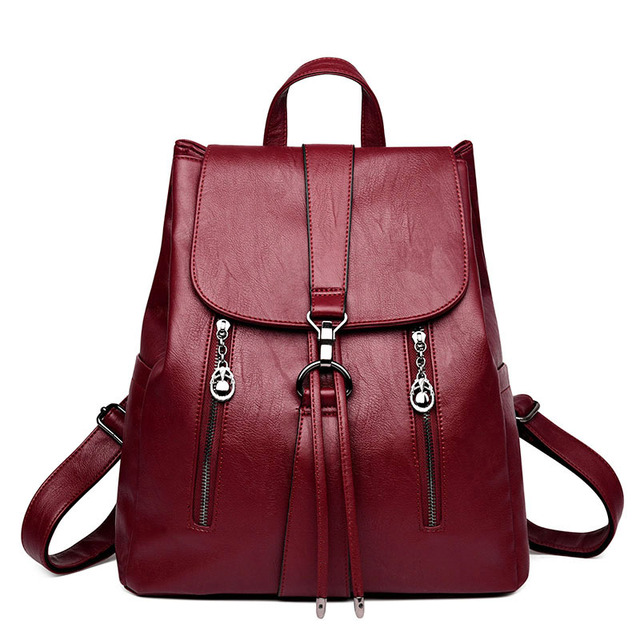 LANYI 2018 New Double zipper Backpack High Quality Leather School Bags For Teenager Girls Black Women Backpack Travel Bags