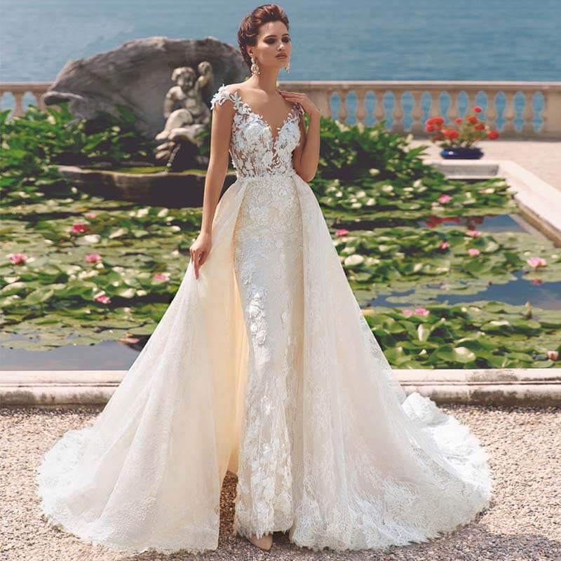 Luxury Full Lace Mermaid Wedding Dress With Detachable Train Elegant Scoop Neck Appliques Vintage Wedding Bridal Gowns