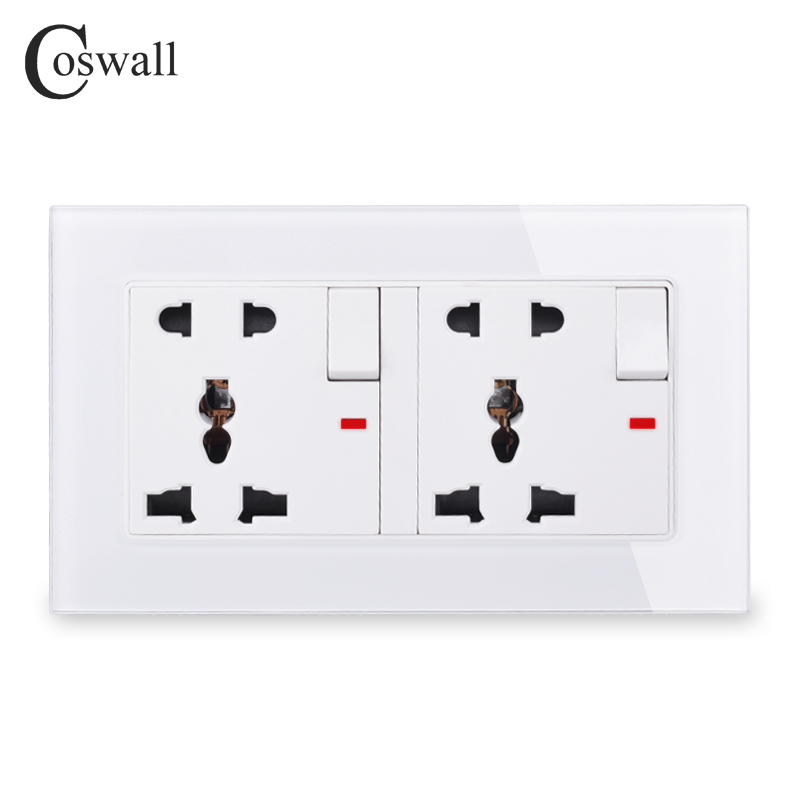 COSWALL Glass Panel 2 Gang 13A Universal 5 Hole Switched Socket With Neon Grounded With Children Protective Door C1 Series