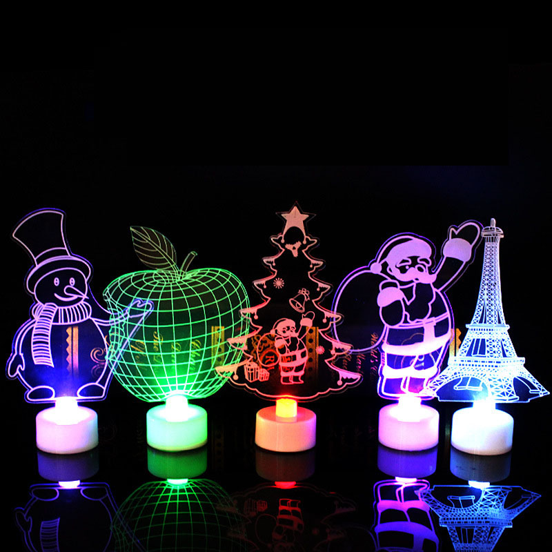 Freeship 3D LED Night Lights Children's Bedroom Decoration Christmas Decorations Flash Wedding Party Gifts