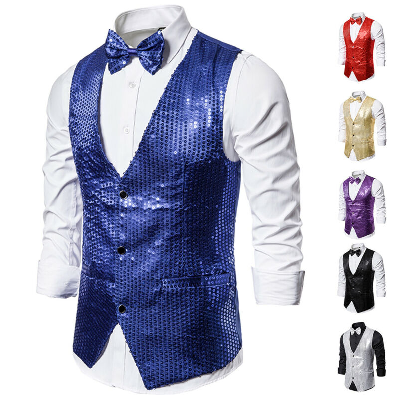 Drop shipping Fashion Men Shiny Sequin Glitter Embellished Classy Nightclub Party Suits Vests Homme Stage For Singers Perfomers 2