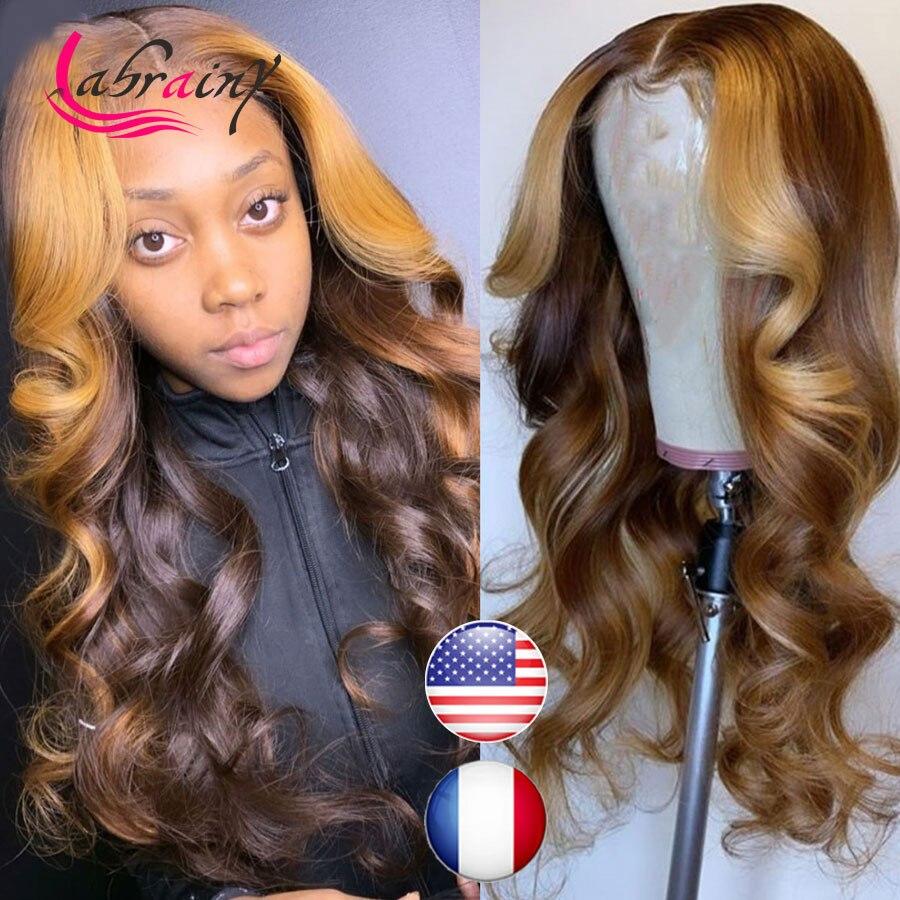 HD 13X6 выделяемые человеческие волосы на сетке передние парики Волнистые на сетке спереди омбре медовая блондинка предварительно выщипанные...