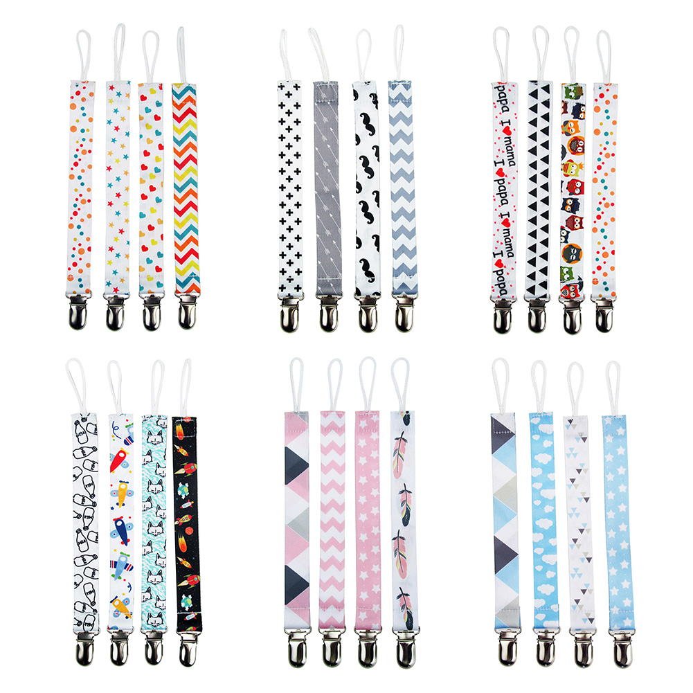 4Pcs Dummy Holder Baby Teething Chain Toys Belt Pacifier Clips Printed Gift Boys Girls Anti-drop Nipple Polyester Shower