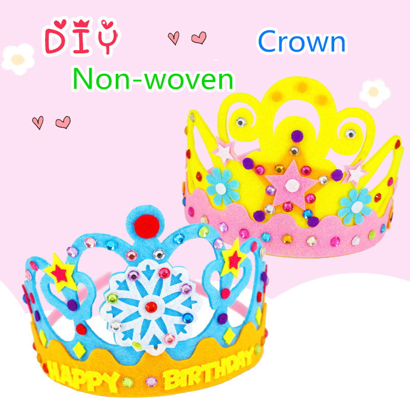 2Pcs/lot Non-woven Crown Hat Headwear Children Kindergarten Creative DIY Handmade Toy Material Package Kid Education Craft Toy
