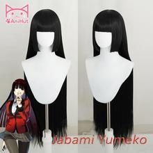 【AniHut】Jabami Yumeko peruk Kakegurui Cosplay peruk kadınlar için siyah 100cm isıya dayanıklı sentetik saç