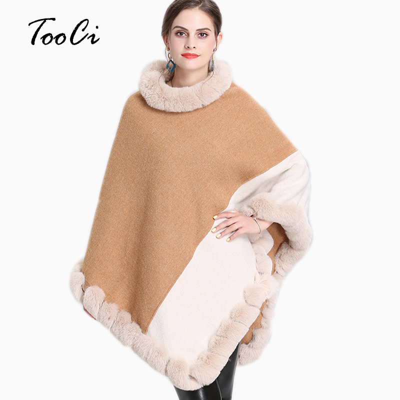 Women Autumn Winter Faux Fur Bat Sleeve Camel Ponchos And Capes Round-Neck Knit Splice Sweater And Pullovers Faux Fur Coat