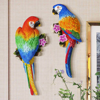 Retro Style Wall Decoration Pendant Resin Home Colorful Parrot Standing On A Branch Wall Decoration For Living Room Dining Room