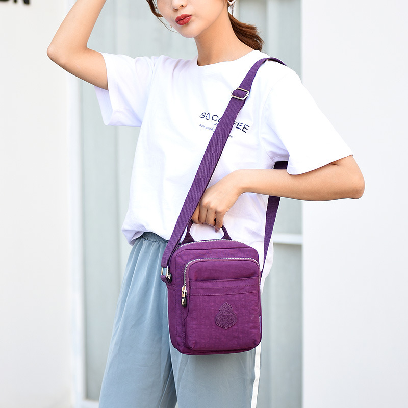 Nylon Light Portable Mommy Shoulder Bag Amy Fashion Purple Flowers About 1310