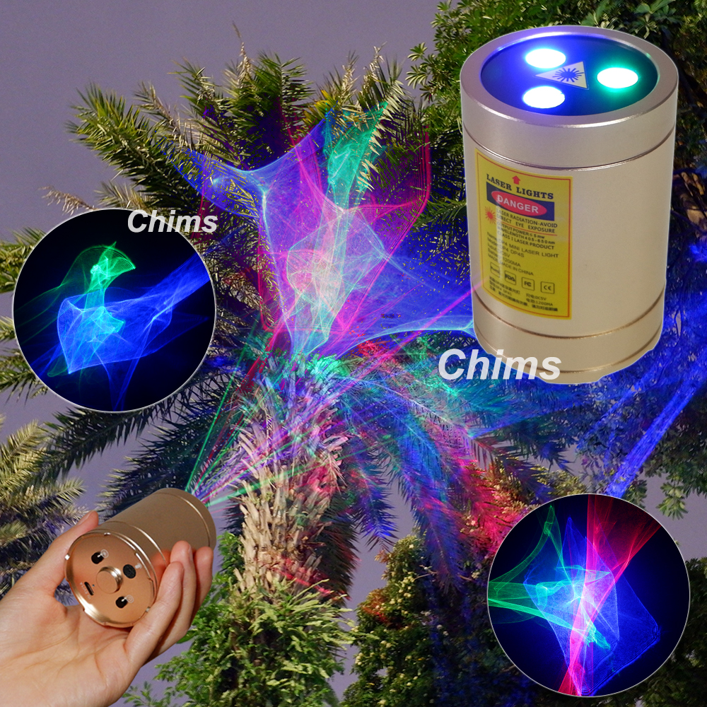 Chims Mini Laser Lights Portable Cordless Rechargeable RGB Aurora Patterns Projector Outdoor Travel Camping Christmas DJ Party